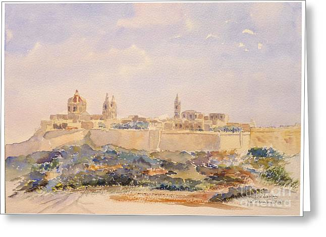 Mdina Skyline Greeting Card by Godwin Cassar