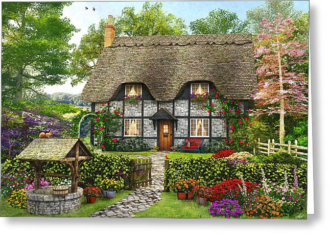 Meadow Cottage Greeting Card by Dominic Davison