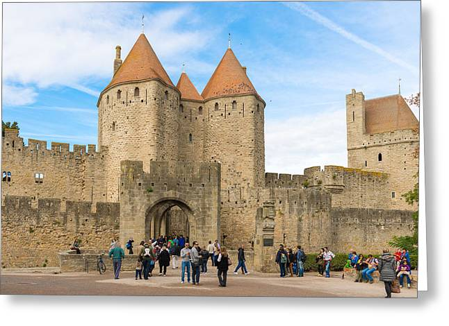 Medieval City Of Carcassonne In France Greeting Card by Marek Poplawski