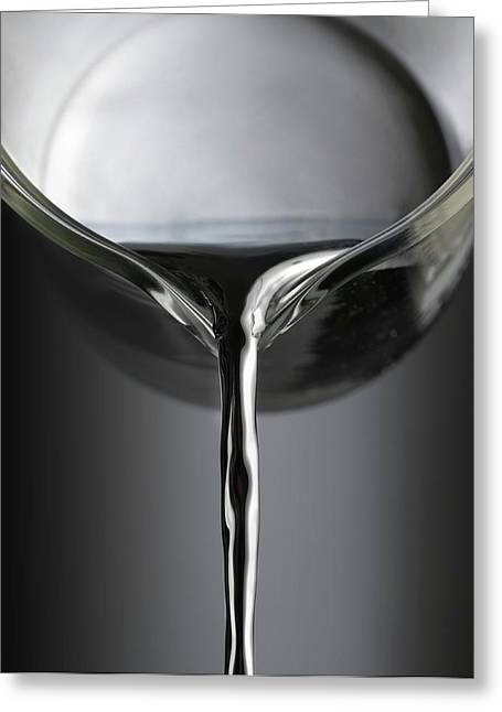 Mercury Pouring From A Beaker Greeting Card by Science Photo Library
