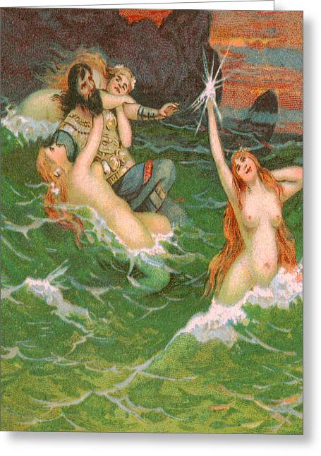 3 Mermaids With Viking Playing In The Sea - At The Beach America Greeting Card by Private Collection