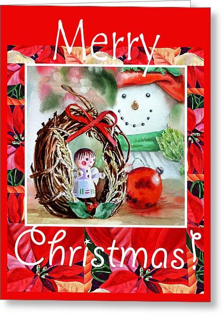 Merry Christmas Greeting Card by Irina Sztukowski