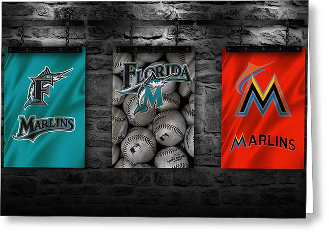 Miami Marlins Greeting Card by Joe Hamilton