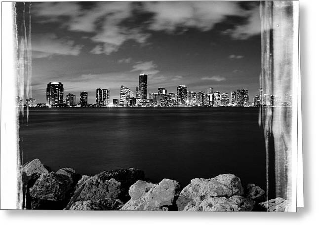 Greeting Card featuring the photograph Miami Skyline At Night by Carsten Reisinger