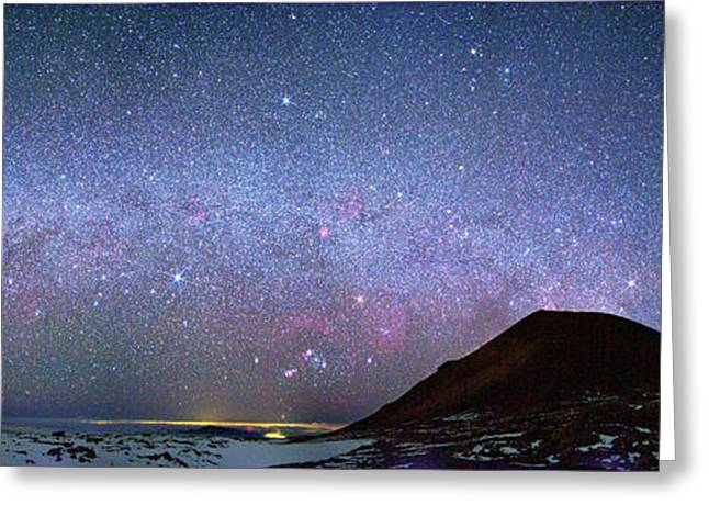 Milky Way Over Telescopes On Hawaii Greeting Card