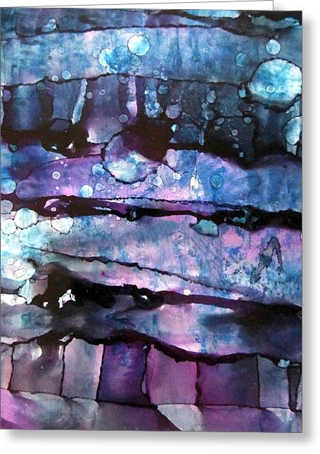 3 Moon In The Night Abstract Alcohol Inks Greeting Card by Danielle  Parent
