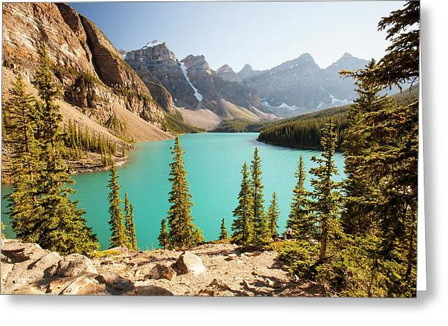 Moraine Lake In The Canadian Rockies Greeting Card by Ashley Cooper