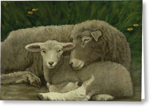 Mother And Lamb Greeting Card