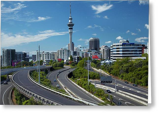 Motorways And Skytower, Auckland, North Greeting Card by David Wall