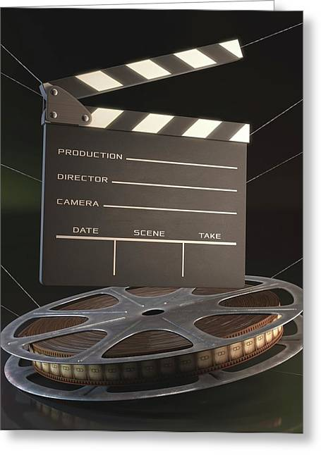 Movie Reel And Clapperboard Greeting Card by Ktsdesign
