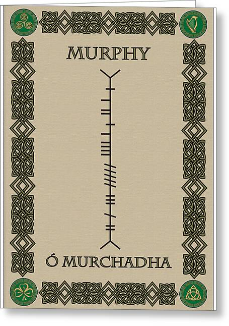 Greeting Card featuring the digital art Murphy Written In Ogham by Ireland Calling