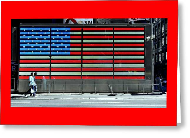 Neon American Flag Greeting Card by Allen Beatty