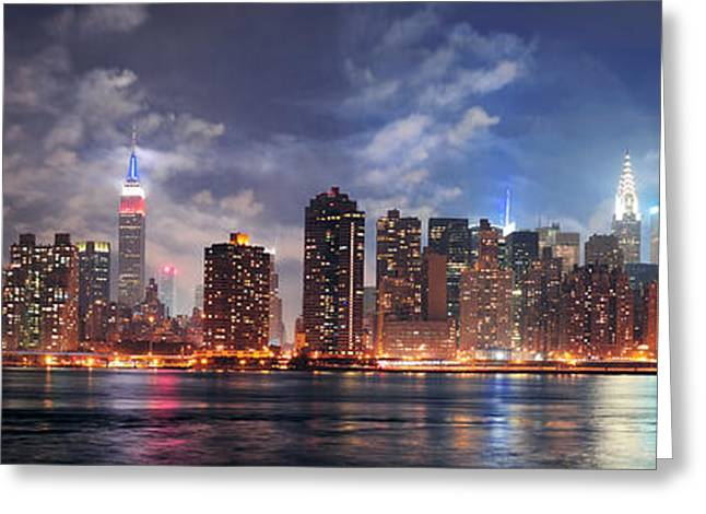 New York City Manhattan Midtown At Dusk Greeting Card