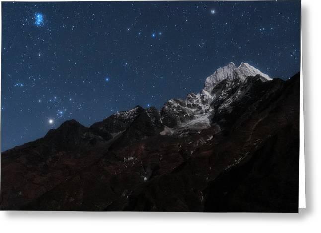 Night Sky Over The Himalayas Greeting Card by Babak Tafreshi