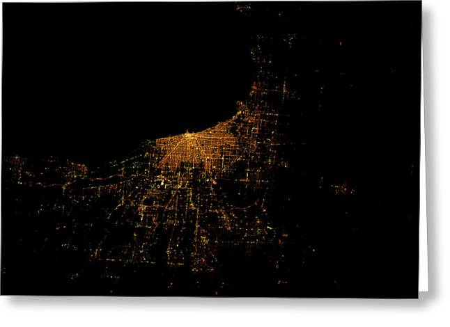 Night Time Satellite Image Of Chicago Greeting Card