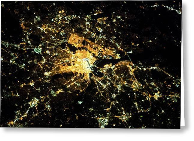 Night Time Satellite Image Greeting Card