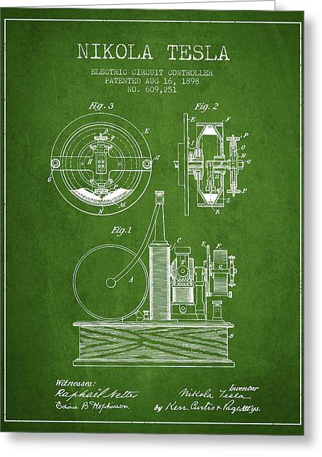 Nikola Tesla Electric Circuit Controller Patent Drawing From 189 Greeting Card