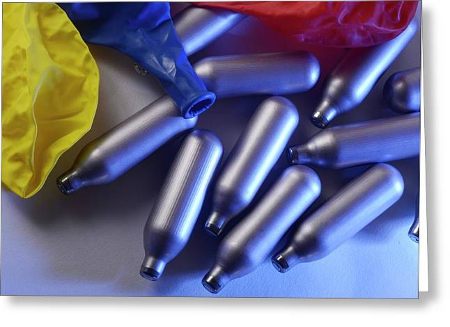 Nitrous Oxide Capsules Greeting Card by Cordelia Molloy