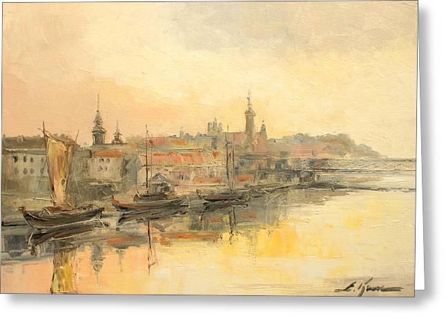 Old Warsaw - Wisla River Greeting Card
