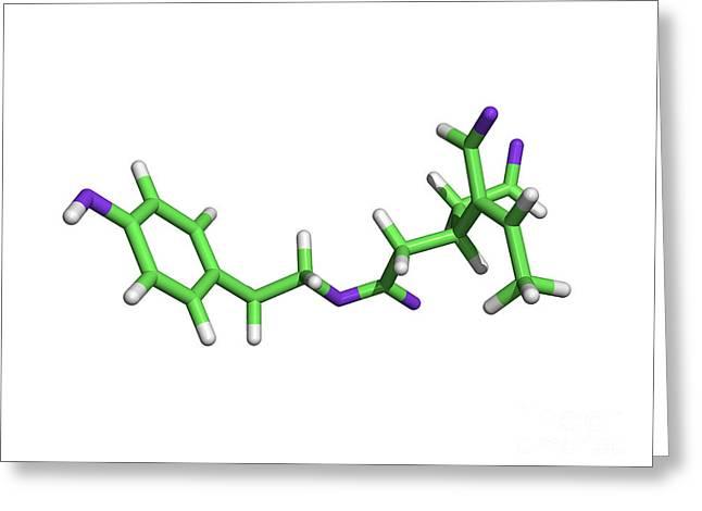 Oleocanthal Olive Oil Molecule Greeting Card by Dr. Tim Evans