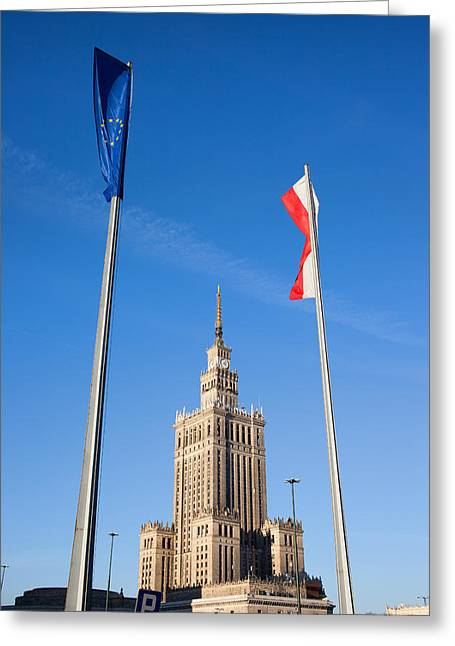 Palace Of Culture And Science In Warsaw Greeting Card by Artur Bogacki