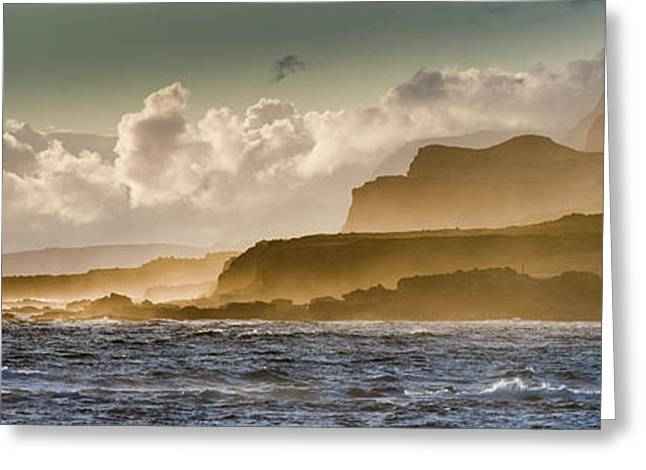 Panoramic Of Molokais North Shore Sea Greeting Card by Richard A Cooke Iii.