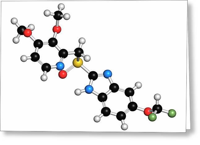 Pantoprazole Gastric Ulcer Drug Molecule Greeting Card