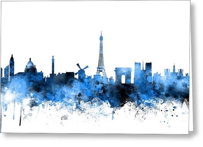 Paris France Skyline Greeting Card by Michael Tompsett