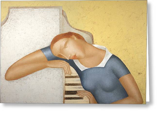 Piano Greeting Card by Nicolay  Reznichenko