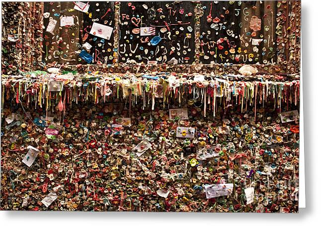 Pike Place Market Gum Wall In Alley Greeting Card by Jim Corwin