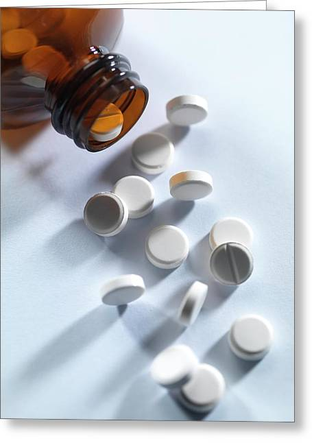 Pill Bottle With Pills Greeting Card by Tek Image