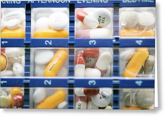 Pill Organiser Greeting Card by Dr P. Marazzi