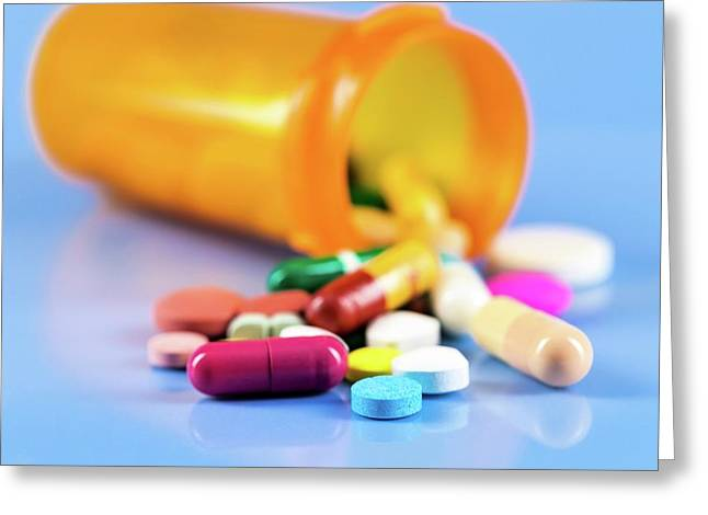 Pills In Bottle Greeting Card by Wladimir Bulgar