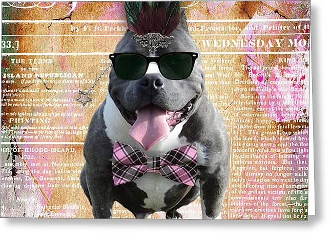 Pitbull Bowtie Collection Greeting Card by Marvin Blaine