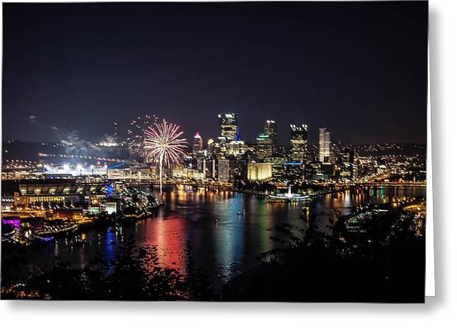 Pittsburgh At Night Greeting Card by Jane Galik