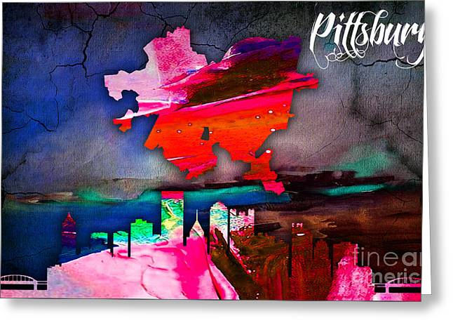 Pittsburgh Map And Skyline Watercolor Greeting Card