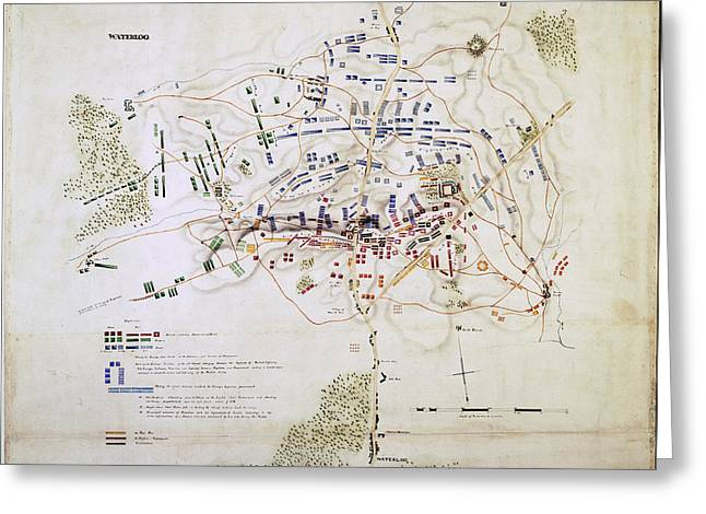 Plan Of The Battle Of Waterloo Greeting Card by British Library