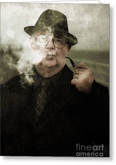 Pondering Private Eye Greeting Card by Jorgo Photography - Wall Art Gallery