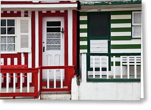 Portugal, Costa Nova, Candy-striped Greeting Card
