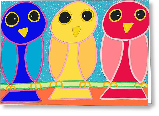 3 Primary Colored Owls Greeting Card by Matthew Brzostoski