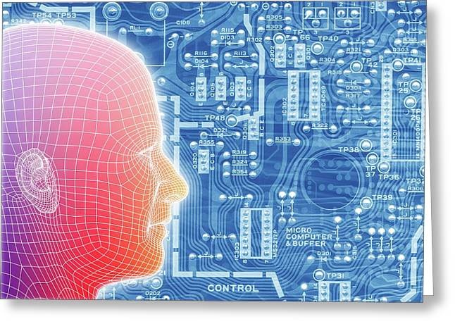 Printed Circuit Board And Wireframe Head Greeting Card by Alfred Pasieka