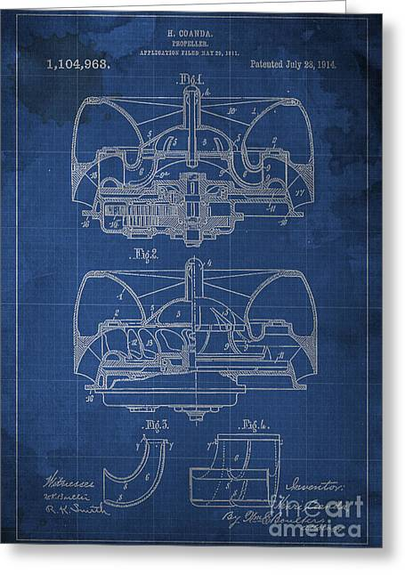 Propeller Patent 1914 Blueprint Greeting Card by Pablo Franchi