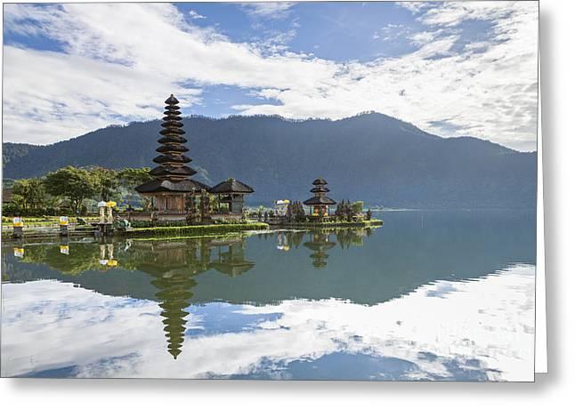 Pura Ulun Danu Temple On Bratan Lake In Bali Greeting Card by Roberto Morgenthaler