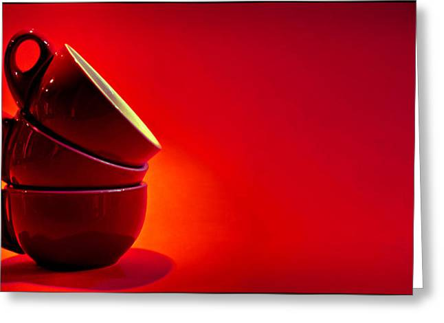 6f37b6c3239 3 Red Coffee Cups 2x1 Greeting Card by Andrei SKY