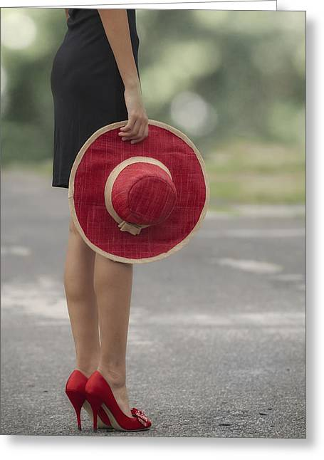 Red Sun Hat Greeting Card