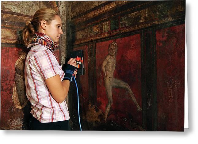 Restoration Of Roman Frescoes Greeting Card