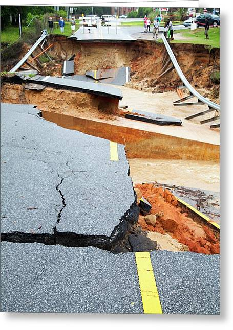 Road Washed Out By Flooding Greeting Card by Jim Edds