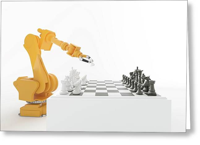 Robotic Arm Playing Chess Greeting Card