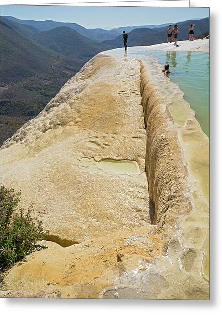 Rock Terrace And Geothermal Pool Greeting Card by Jim West