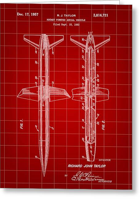 Rocket Patent 1953 - Red Greeting Card by Stephen Younts